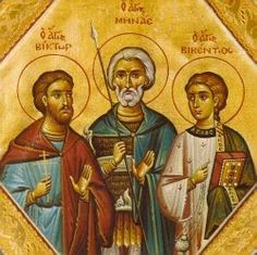 Sts. Victor and Stephanida at Damascus, Mena of Egypt , and Vincent of Spain